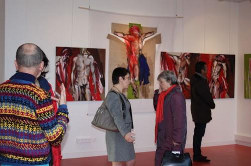 exposition,art,peinture,,image,corps,nu,fleurs,collage,