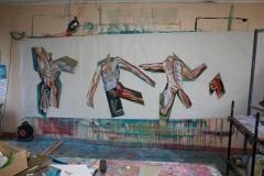 corps, nu, homme, peinture, collage