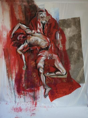 peinture,collage, corps,fleur,nu,pieta