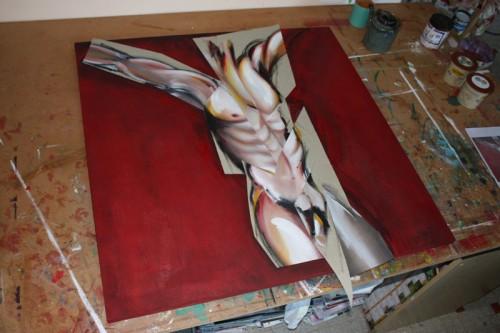 art,peinture,image,collage,photographie,corps,nu,crucifixion,matière,