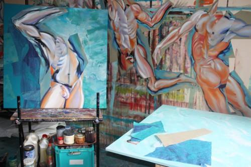 art,peinture,image,corps,nu,baigneur,collage