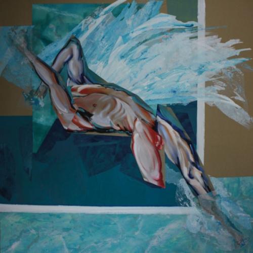peinture,collage,corps,nu,baigneur