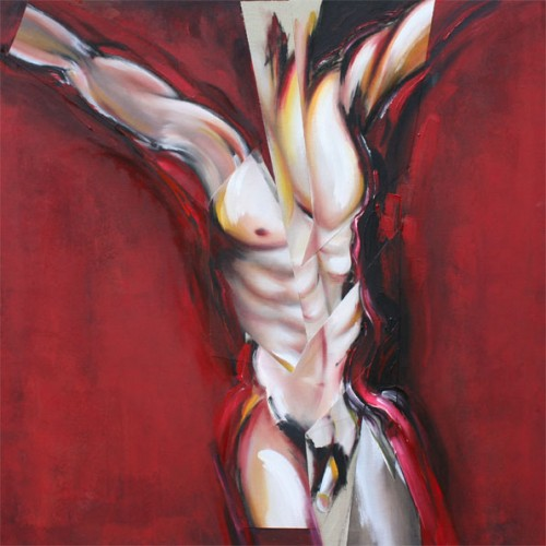 art,peinture,image,photographie,collage,corps,nu,crucifixion