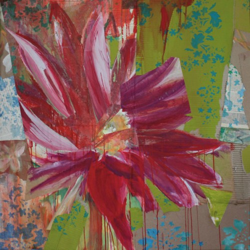 art,peinture,collage,fleur
