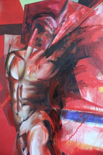 art,peinture,image,collage,photographie,corps,nu,guerrier,matière