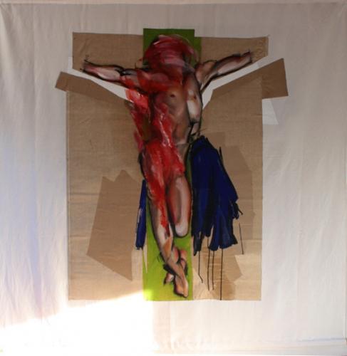 peinture,collage,corps,fleur,crucifixion