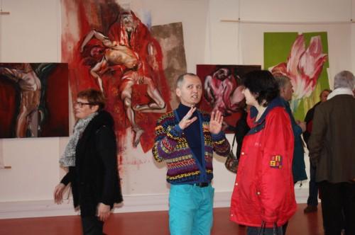 exposition, art,peinture,image,corps,nu,fleurs,collage